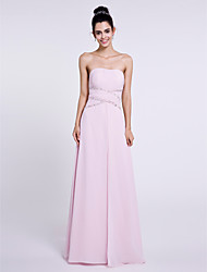 2017 Lanting Bride® Floor-length Chiffon Bridesmaid Dress - Strapless with Beading