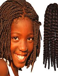 "Dark Brown 12"" Kid's Kanekalon Synthetic 2X Havana Mambo Twist 100g Hair Braids with Free Crochet Hook"