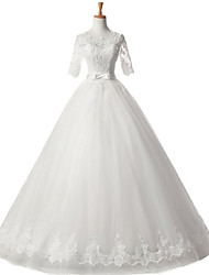 Ball Gown Wedding Dress Lacy Look Floor-length Scoop Satin Tulle with Appliques Sash / Ribbon