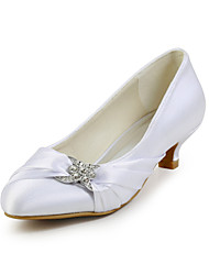 Women's Spring Summer Fall Silk Wedding Dress Party & Evening Low Heel Sparkling Glitter Ruffles Ivory White