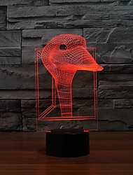 imagem Pato 3d engraçado levou arte da escultura lâmpada luzes da noite mesa para o presente crianças luz que muda de cor à noite