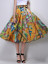 Women's Floral Yellow Skirts,Sophisticated Knee-length