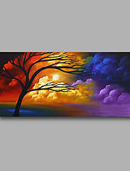 "Stretched (Ready to hang) Hand-Painted Oil Painting 40""x20"" Canvas Wall Art Modern Abstract Trees Clouds Sunrise"