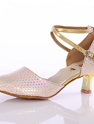 Women's  Girl's Dance Shoes Leatherette Latin/Modern Heels  Indoor Blue / Pink / Gold