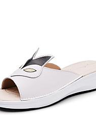 Women's Slippers & Flip-Flops Summer PU Casual Wedge Heel Black Yellow White