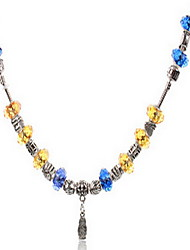 Blue/Yellow DIY Beads Strand Necklace with Flower Print Antique Silver Fine Jewelry