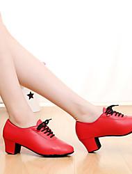 Для женщин-Кожа-Персонализируемая(Черный / Красный) -Латина / Танцевальные кроссовки