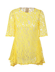 Women's Casual/Daily A Line Dress Round Neck Above Knee Long Sleeve Yellow Fall