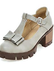 женская обувь лето / осень каблуки / круглые пятки ног платье коренастый пятки пряжки черный / зеленый / серый / миндаль