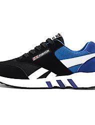 Da uomo-Sneakers-Sportivo-Comoda-Piatto-Scamosciato Tulle-Nero Blu Rosso