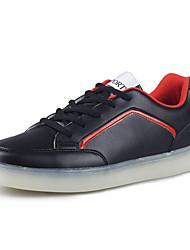 Herren-Flache Schuhe-Outddor / Lässig-PU-Flacher Absatz-Komfort / Rundeschuh / Flache Schuhe-Schwarz / Rot / Weiß
