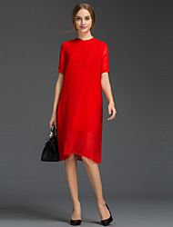 Women's Going out Simple Loose Dress,Solid Crew Neck Knee-length Short Sleeve Red / Black Silk / Polyester Summer Mid Rise