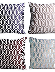 Polyester Pillow Cover , Geometric Chenille Jacquard-four pcs