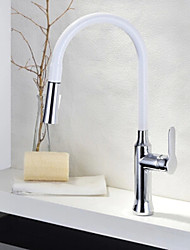 Contemporary Standard Spout Vessel Pullout Spray Rotatable with  Ceramic Valve Single Handle One Hole for  Chrome