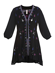 Women's Holiday Loose Dress,Embroidered Deep V Mini ½ Length Sleeve White / Black Cotton Spring