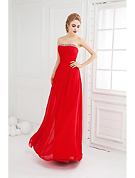 Prom Formal Evening Dress - Open Back Ball Gown Strapless Floor-length Chiffon with Beading Ruching