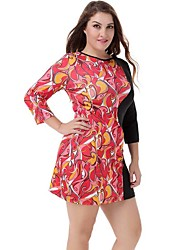 Women's Plus Size Sexy ¾ Sleeve Lace Patchwork Print Mini Dress