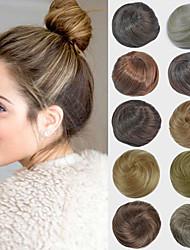 nupcial updo moño del bollo extensiones de cabello lacio sintéticos para las mujeres negras más colores