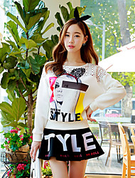 Pink Doll® Women's Casual Print Round Neck Long Sleeve T Shirt White-X14CTS208