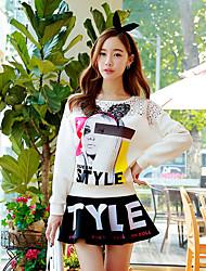 Rosa Doll® Damen Rundhalsausschnitt Lange Ärmel T-Shirt Weiß-X14CTS208