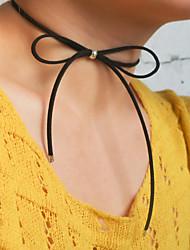 Femme Collier court /Ras-du-cou Collier multi rangs Forme de Noeud Molleton Mode Vintage Le style mignon Blanc Noir Marron Bijoux Pour