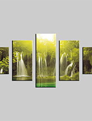 JAMMORY Canvas Set Landscape Modern,Five Panels Gallery Wrapped, Ready To Hang Vertical Print No Frame Forest Falls