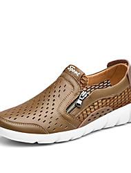Men's Summer Comfort PU Casual Flat Heel Blue Brown Khaki