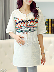 Maternity Round Neck Tassel T-shirt,Rayon Short Sleeve