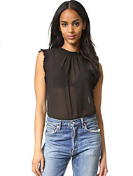 Women's Solid All Match Fashion Lace Up Tanks,Crew Neck Stringy Selvedge Short Sleeve