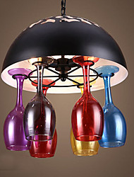 American Industrial Wind Restoring Ancient Ways Red Stained glass lamp Glass Pendant lamp