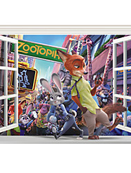 3D False Window Cartoon Animals City Zootopia 3D Wall Stickers PVC Environmental Bedroom Living Room Wall Decals