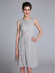 Lanting Bride® Sheath / Column Mother of the Bride Dress Knee-length Sleeveless Chiffon with Appliques / Ruffles