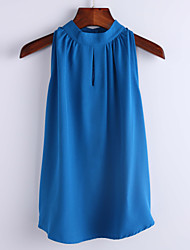 Women's Casual/Daily Simple Summer Blouse,Solid Sleeveless Blue / White Others Thin