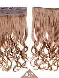 Clip in der synthetischen 1pc 24inch 60cm Haar Frauen große Welle langen lockigen Haarverlängerungen 27 # Farbe synthetische Haargewebe