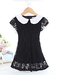 Girl's Black Dress,Color Block Polyester Summer