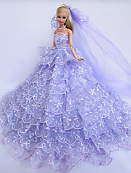 Wedding Dresses For Barbie Doll Purple Dresses For Girl's Doll Toy