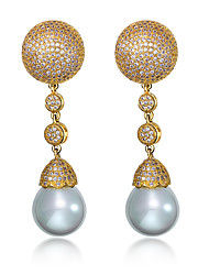 Earring Pearl Round Drop Earrings Jewelry Women Fashion / Birthstones Wedding / Party / Daily / Casual / N/AImitation Pearl / Cubic
