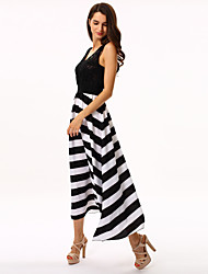 Women's Striped Black/White Dress,Maxi Round Neck Sleeveless