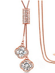 Exquisite Crystal Clover Tassel Pendant Necklace Jewelry for Lady