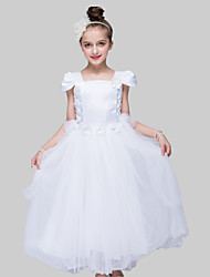 Ball Gown Ankle-length Flower Girl Dress - Satin / Tulle Short Sleeve Square with