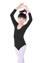 Ballet Leotards Children's Sweet Training Cotton Pleated 1 Piece  Ballet Long Sleeve Natural Kid's Dance Costumes