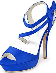 damesschoenen zijde naaldhak hakken / peep toe hakken bruiloft / feest&avond / jurk blauw / wit