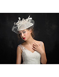 Women's Feather Tulle Flax Headpiece-Special Occasion Fascinators 1 Piece