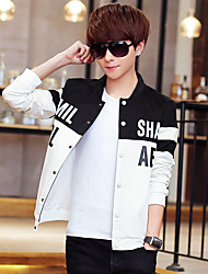 Men's Long Sleeve Casual / Sport Jacket,Polyester Patchwork Black / White