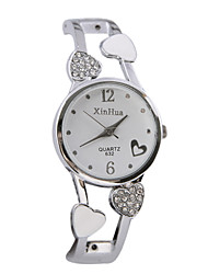 Women's Fashion Watch Quartz Casual Watch Alloy Band Heart shape Bangle Silver Brand