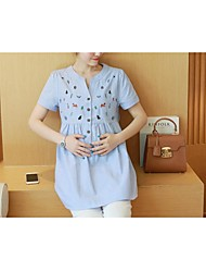 Maternity Round Neck Ruffle Shirt,Cotton Short Sleeve