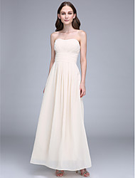 Ankle-length Chiffon Bridesmaid Dress - Sheath / Column Strapless with Draping / Ruching