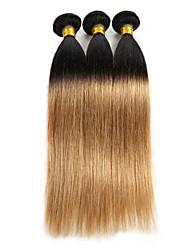 "Ombre Hair Extensoins Straight Indian Remy Human Hair Weave Bundles 3 Bundles 10""-26"" Black Honey Blonde 300G"