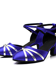 Women's Dance Shoes  Latin / Modern Heels /Square dance/ Low Heel Practice / Performance Shoes Black / Blue