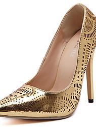 Mujer-Tacón Stiletto-Confort Zapatos del club Light Up Zapatos-Tacones-Boda Vestido-PU-Plata Oro